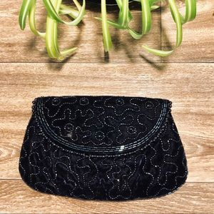 Vintage Black Velvet Clutch with beading design